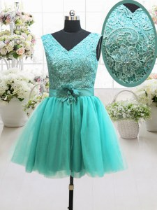 Sleeveless Beading and Lace and Belt and Hand Made Flower Lace Up Prom Dresses