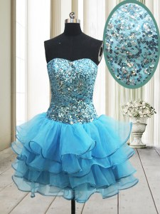 Nice Baby Blue Cocktail Dresses Prom and Party and For with Sequins Sweetheart Sleeveless Zipper