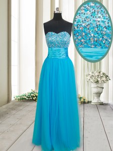 Top Selling Floor Length Empire Sleeveless Baby Blue Homecoming Dress Lace Up