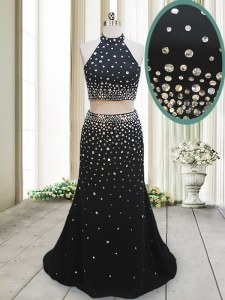 Attractive Halter Top Floor Length Two Pieces Sleeveless Black Backless