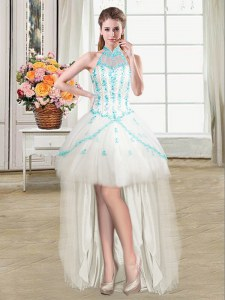 Super See Through White Prom Dress Prom and Party and For with Beading and Ruffles Halter Top Sleeveless Lace Up