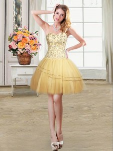 Trendy Gold Lace Up Sweetheart Beading and Sequins Prom Evening Gown Tulle Sleeveless