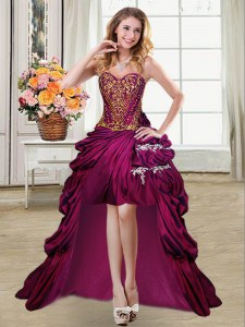 Fuchsia Taffeta Lace Up Sweetheart Sleeveless High Low Prom Dresses Beading and Appliques and Pick Ups