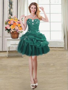 Pick Ups Sweetheart Sleeveless Lace Up Prom Party Dress Dark Green Organza