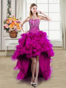 Chic Fuchsia Ball Gowns Sweetheart Sleeveless Organza High Low Lace Up Beading Prom Dresses