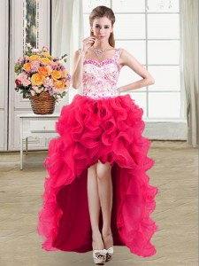 Hot Pink Ball Gowns Organza Straps Sleeveless Beading and Lace and Ruffles High Low Lace Up Dress for Prom
