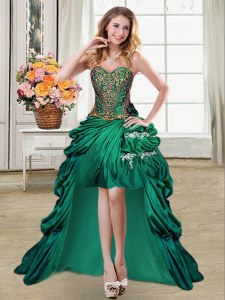 Glamorous Dark Green Ball Gowns Beading and Appliques and Pick Ups Evening Dress Lace Up Taffeta Sleeveless High Low