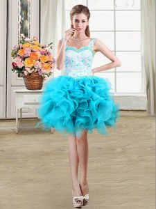 Perfect Baby Blue Organza Lace Up Straps Sleeveless Mini Length Beading and Lace and Ruffles
