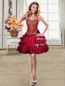 Charming Wine Red Sweetheart Lace Up Beading and Appliques and Pick Ups Prom Dress Sleeveless