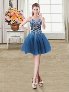 Fantastic Teal Tulle Lace Up Sleeveless Mini Length Beading and Sequins