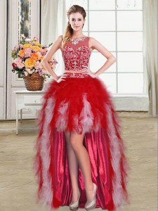 Scoop High Low Zipper Prom Gown Red for Prom and Party with Beading and Ruffles