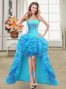 Chic Aqua Blue Ball Gowns Beading and Ruffles Prom Gown Lace Up Organza Sleeveless High Low