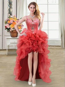 Straps Sleeveless Organza High Low Lace Up Prom Dress in Coral Red with Beading and Ruffles