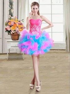 Multi-color Zipper Evening Dress Beading and Ruffles Sleeveless Mini Length