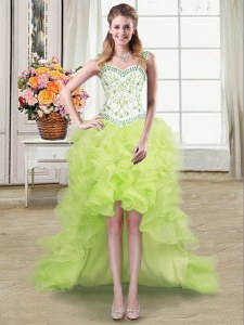 Straps Yellow Green Sleeveless Beading and Ruffles High Low Prom Gown