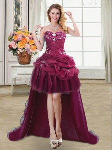 Sleeveless High Low Beading and Appliques and Pick Ups Lace Up Pageant Dresses with Burgundy