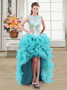 Scoop See Through High Low Ball Gowns Sleeveless Aqua Blue Zipper