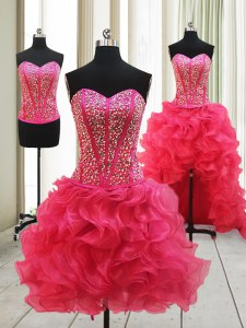 Hot Pink Organza Lace Up Sweetheart Sleeveless High Low Prom Evening Gown Beading