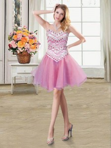 Custom Made Mini Length Lace Up Cocktail Dresses Lilac for Prom and Party with Beading