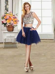 Navy Blue Scoop Zipper Beading Homecoming Dress Cap Sleeves