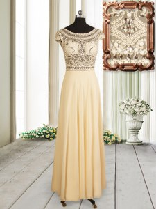 Custom Made Scoop Cap Sleeves Chiffon Prom Party Dress Beading Zipper