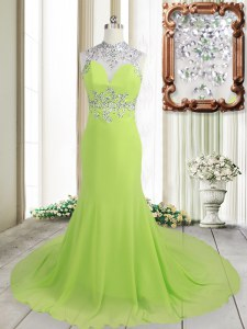 Great Yellow Green Column/Sheath High-neck Sleeveless Chiffon Brush Train Backless Beading Prom Gown