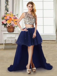 Hot Sale Navy Blue Scoop Neckline Beading Dress for Prom Cap Sleeves Zipper