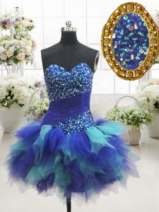 Sleeveless Tulle Mini Length Lace Up Prom Party Dress in Multi-color with Beading