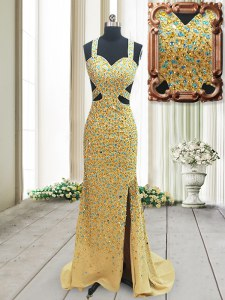 Low Price Straps Column/Sheath Sleeveless Gold Brush Train Backless