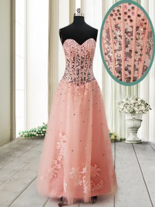 Fine Sleeveless Beading Lace Up Prom Gown