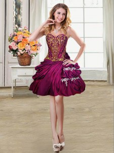 Stunning Pick Ups High Low Fuchsia Cocktail Dresses Sweetheart Sleeveless Lace Up
