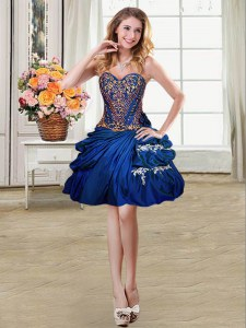 Custom Made Royal Blue Lace Up Prom Dress Beading and Appliques and Pick Ups Sleeveless Mini Length