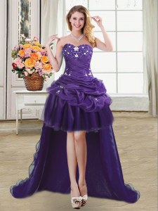 Sleeveless Organza High Low Lace Up Prom Dresses in Purple with Beading and Appliques and Pick Ups