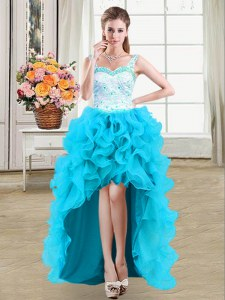 Adorable Straps Organza Sleeveless High Low Prom Evening Gown and Beading and Appliques and Ruffles