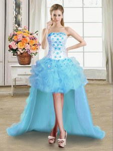 Fancy Light Blue Strapless Lace Up Beading and Appliques and Ruffles Homecoming Dress Sleeveless