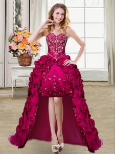 Smart Pick Ups Fuchsia Sleeveless Taffeta Lace Up Homecoming Dress for Prom and Party