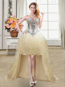 Spectacular Champagne Tulle and Lace Lace Up Prom Gown Sleeveless High Low Beading and Lace and Sequins