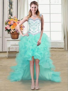 Straps Beading and Ruffles Prom Dress Aqua Blue Lace Up Sleeveless High Low