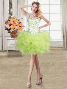 Yellow Green Lace Up Straps Beading and Ruffles Prom Dresses Organza Sleeveless