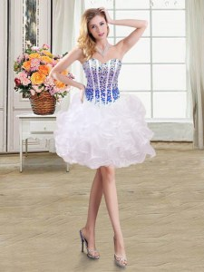 White and Blue Organza Lace Up Cocktail Dress Sleeveless Mini Length Beading and Ruffles