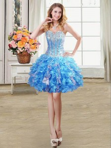 Baby Blue Lace Up Club Wear Beading and Ruffles and Sequins Sleeveless Mini Length
