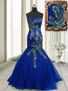 Beautiful Mermaid Sleeveless Brush Train Beading and Appliques and Sequins Lace Up Evening Dress