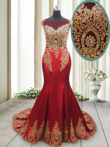Amazing Mermaid Scoop Cap Sleeves With Train Appliques Side Zipper Prom Dress with Red Brush Train