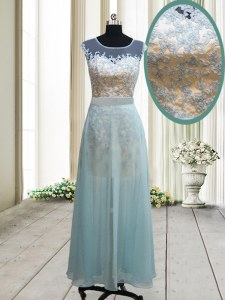Flirting Light Blue Scoop Neckline Lace Prom Dresses Cap Sleeves Backless