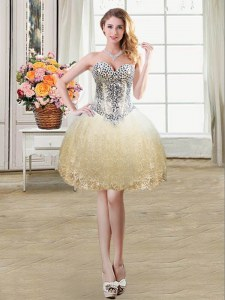 Tulle and Lace Sweetheart Sleeveless Lace Up Beading and Lace and Sequins Prom Gown in Champagne