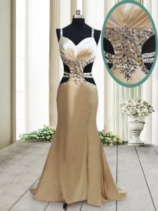 Mermaid Champagne Straps Neckline Beading Prom Gown Sleeveless Criss Cross
