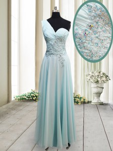 Stylish Light Blue Homecoming Dress Prom and Party and For with Beading and Appliques One Shoulder Sleeveless Side Zipper
