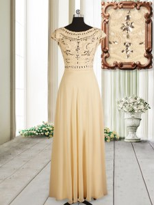 Eye-catching Scoop Chiffon Cap Sleeves Floor Length Prom Party Dress and Beading