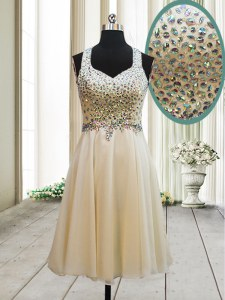 Glamorous Champagne Column/Sheath Chiffon Straps Sleeveless Beading Knee Length Side Zipper Prom Evening Gown