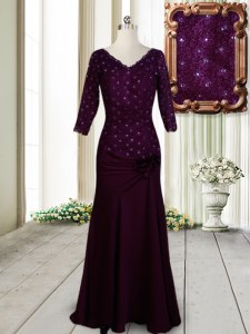 Exquisite Half Sleeves Floor Length Beading and Lace and Hand Made Flower Zipper Evening Dress with Dark Purple